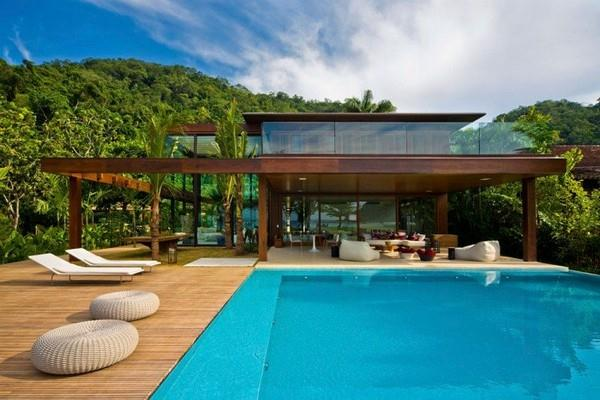 Natural Residence Design with Wooden and Large Glazing Window in Rio de Janeiro