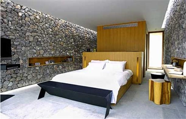 Unique and Unusual Bedroom Interior Design with Stone Wall – X2 Resort Kui Buri